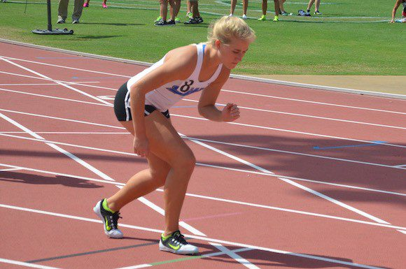 Michelle Last preparing to run the 800 metres at the USF Track and Field Invitational. March 13, 2015