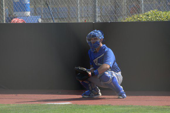 Blue Jays catching prospect Mike Reeves waits to receive a pitch at the team's minor-league spring training camp.