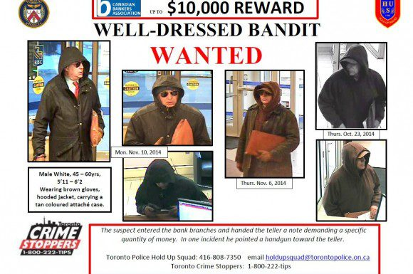"""Wanted poster for the """"well-dressed bandit""""."""