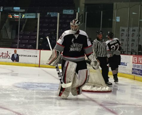 It was not Brampton Beast goaltender, #31 Ryan DeMelo's night, as he was pulled in the third period after allowing 5 goals on 24 shots.