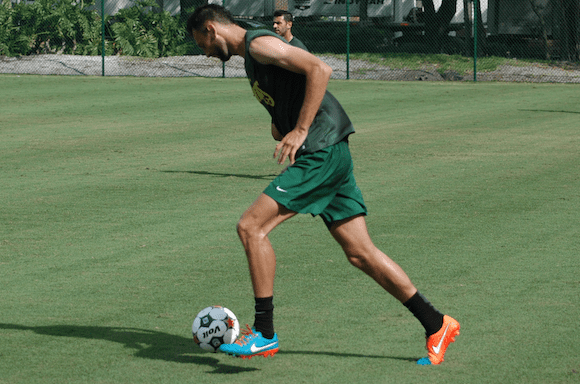 Tampa Bay Rowdies centre back Stefan Antonijevic gets ready to clear the ball during a simulated game in practice on Thursday.