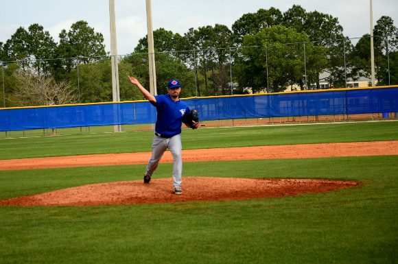 Taylor Cole at Blue Jays camp in Dunedin, Fla practising his fielding.
