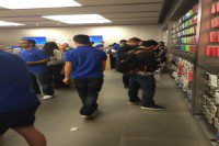 The Apple Store was busy the day following the release of the watch. The watch will be available for pre-order on April 10.