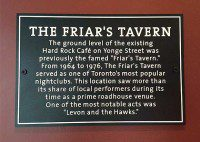 The Friar's Tavern plaque inside the Hard Rock Café