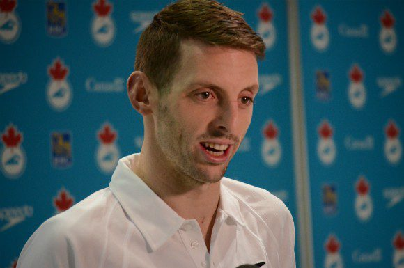 Ryan Cochrane speaks following a practice swim at the Toronto Pan Am Sports Centre March 3.