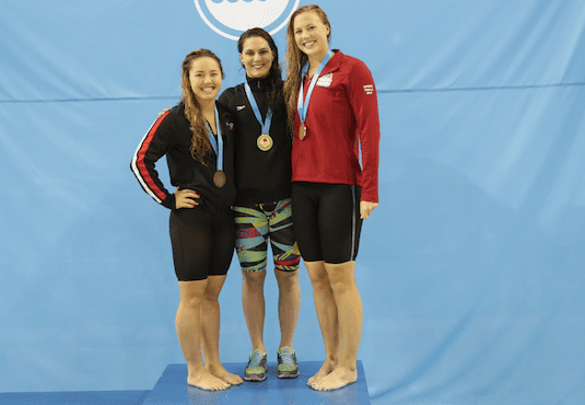 Paige Kremer, Smantha Corea and Noemie Thomas on the podium at the 2015 Canadian National Swim Trials.