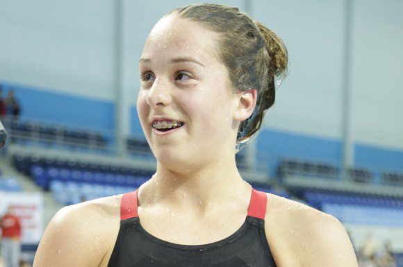 A happy Tessa Cieplucha after winning the Women 1500m Freestyle at the 2015 Canadian Swimming Trials in Toronto, Ont.
