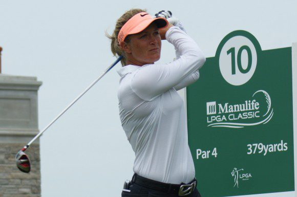 Suzann Pettersen tees off on the par-4 10th hole at Whistle Bear Golf Club. She became the first European to win the event.