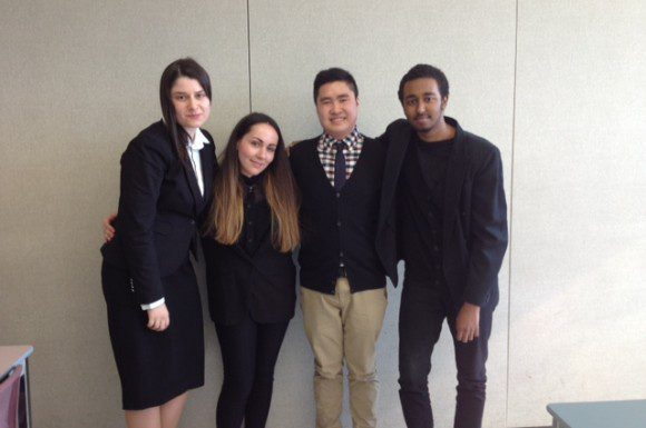 Jayson Pham with Centennial Journalism students Roxana Chiriac, Shelby Morton and Jibril Osman.
