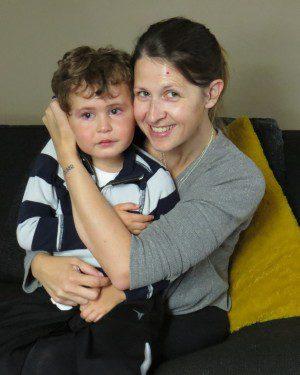 Isaiah Schwartz, 4, with his mother Charlotte Schwartz