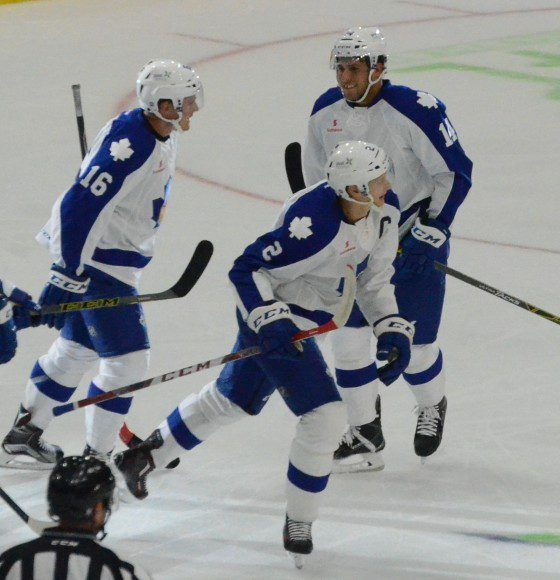 Team captain Andrew Campbell celebrates with teammates after scoring his first of the season to put the Marlies ahead 3-1 in the second period Friday.
