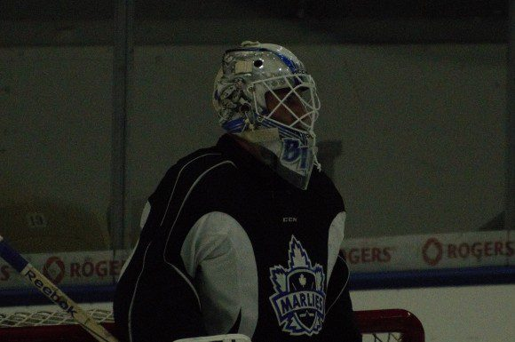 Antoine Bibeau practicing Thursday ahead of Marlies season opener, competing for starting job with Garret Sparks.
