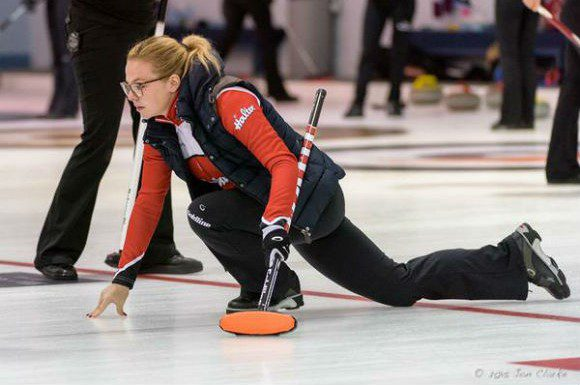 Alina Pätz throwing a stone at the Oakville Curling Club in September.