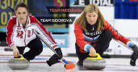 Anna Sidorova (left) and Sherry Middaugh (right) setting up their match at the Grand Slam of Curling Tour Challenge.