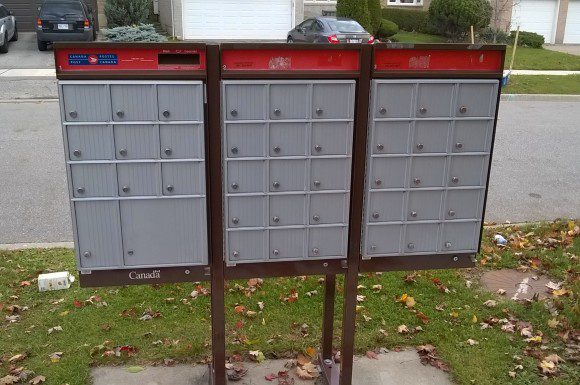 Residents who already have Canada Post community mailboxes, like this one in Thornhill near Steeles Avenue, will  still have to pick up their mail.