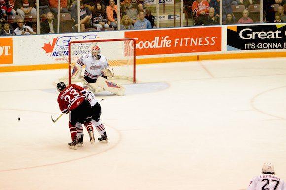 Jeremy Brodeur helps Oshawa snap a 3-game losing streak by shutting out the Guelph Storm.