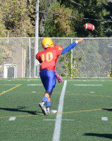 Teshaun Tran steps into a pass during the Northern Red Knights' 12-3 defeat of the Leaside Lancers.
