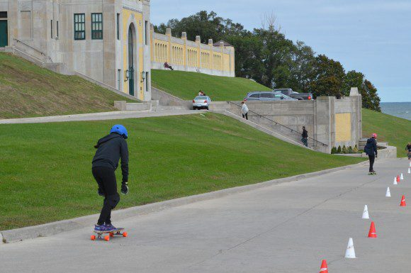 Race organizer Sisi Zhou skates down the track at the 4th Annual Toronto Girls Longboarding race.