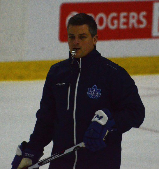 Toronto Marlies head coach Sheldon Keefe running drills at practice Friday ahead of a two-game set against the Albany Devils.