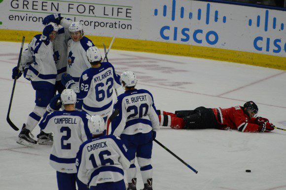 Toronto Marlies celebrate an overtime win over the Albany Devils after T.J. Brennan  scored the game-winning goal.