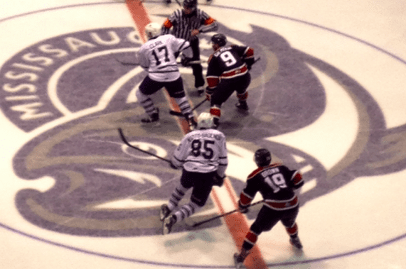 Second period opening face off between the Mississauga Steelheads and Saginaw Spirit.