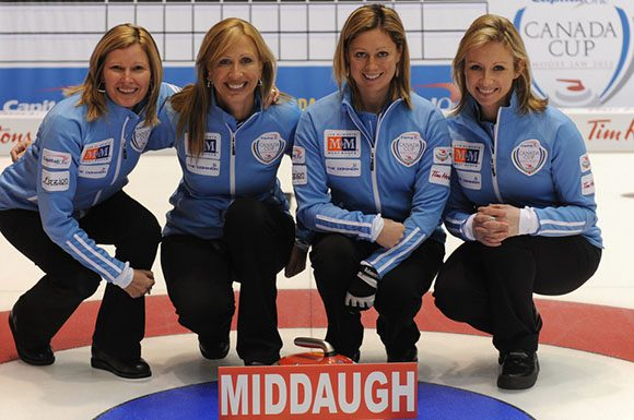 (Left to right) Sherry Middaugh, Jo-Anne Rizzo, Lee Merklinger, and Leigh Armstrong will be competing at the Women's Masters Basel event beginning Oct. 9 in Switzerland.