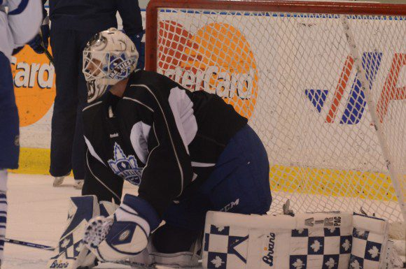 Toronto Marlies goaltender Garret Sparks taking part in an optional practice following the team's three-game road trip Tuesday at MasterCard Centre.