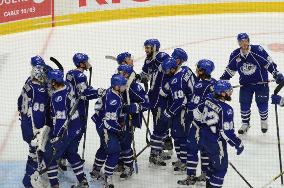 The Syracuse Crunch celebrate their 3-1 win over the Toronto Marlies at Ricoh Coliseum Wednesday.