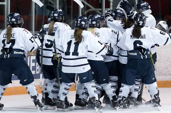 The Varsity Blues celebrate their shootout win over the Gaels