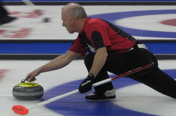Glenn Howard throwing a stone at the 2010 Brier in Halifax, NS., where he finished in second place.