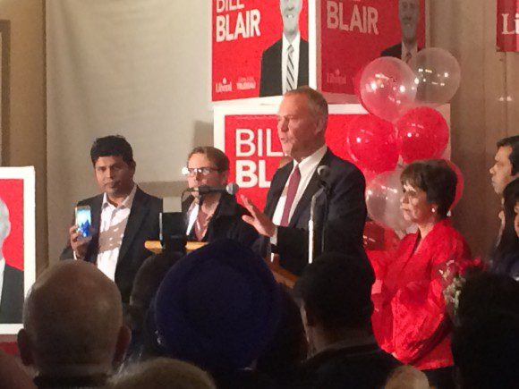 Newly elected MP Bill Blair addresses media and supporters at victory party at Qssis Banquet Hall.