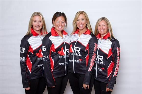 Left to right: Leigh Armstrong, Lee Merklinger, Jo-Ann Rizzo, Sherry Middaugh, wearing their new uniforms sponsored by VR Mechanical.