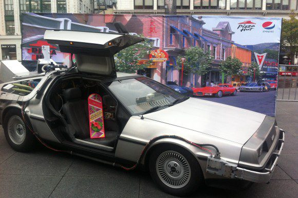 Ken Kapalowski's faithfully recreated DeLorean at Yonge Dundas Square