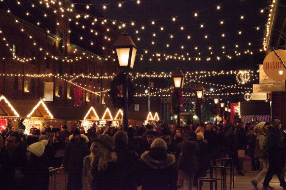 The Toronto Christmas Market all lit up at night.