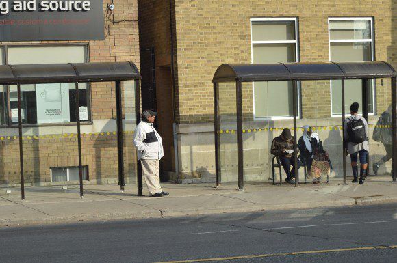 Two bus shelters have been added on Coxwell Ave. to replace the bus loop inside Coxwell Station during improvements.