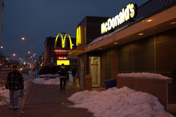 The same East York McDonalds where two people were shot and killed in February, was robbed early this morning.