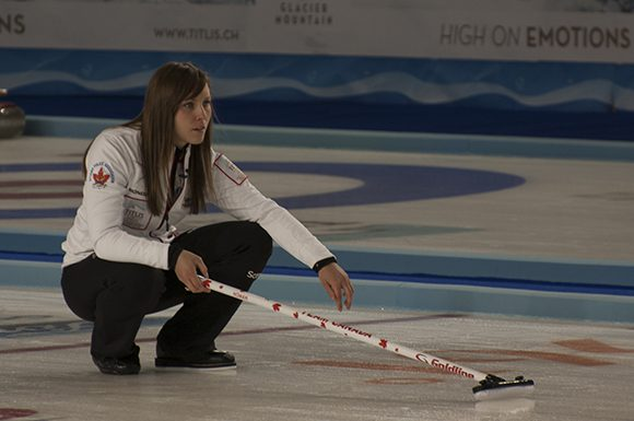 Skip Rachel Homan watching her shot go down the ice during a match in March of 2013.