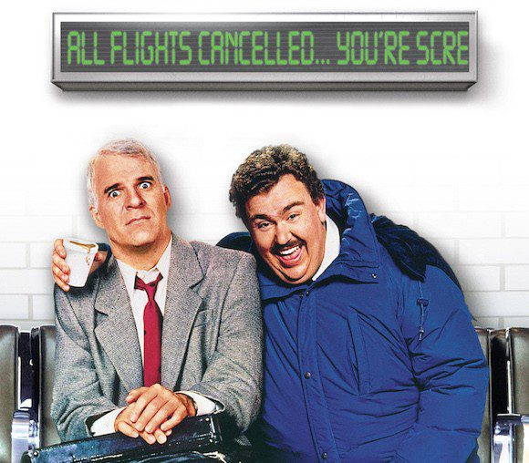Shot from the 1987 comedy Planes, Trains and Automobiles, starring Steve Martin and the late John Candy.