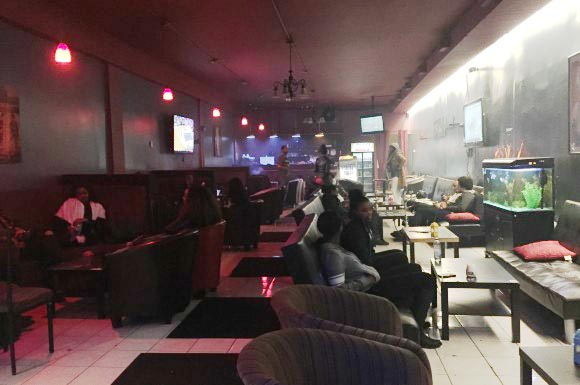 Inside Cloud Nine Café, a popular hookah lounge just west of Coxwell Avenue at 1530 Danforth Ave.