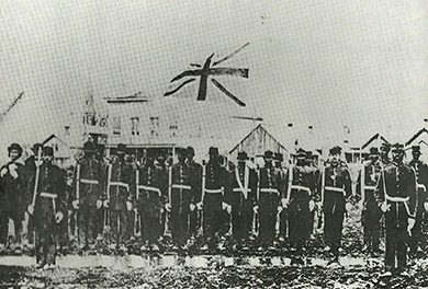 The Negro Volunteer Military Company was formed in Victoria, B.C. around 1860 to protect the British colony.  The Hudson's Bay company lent the volunteers muskets