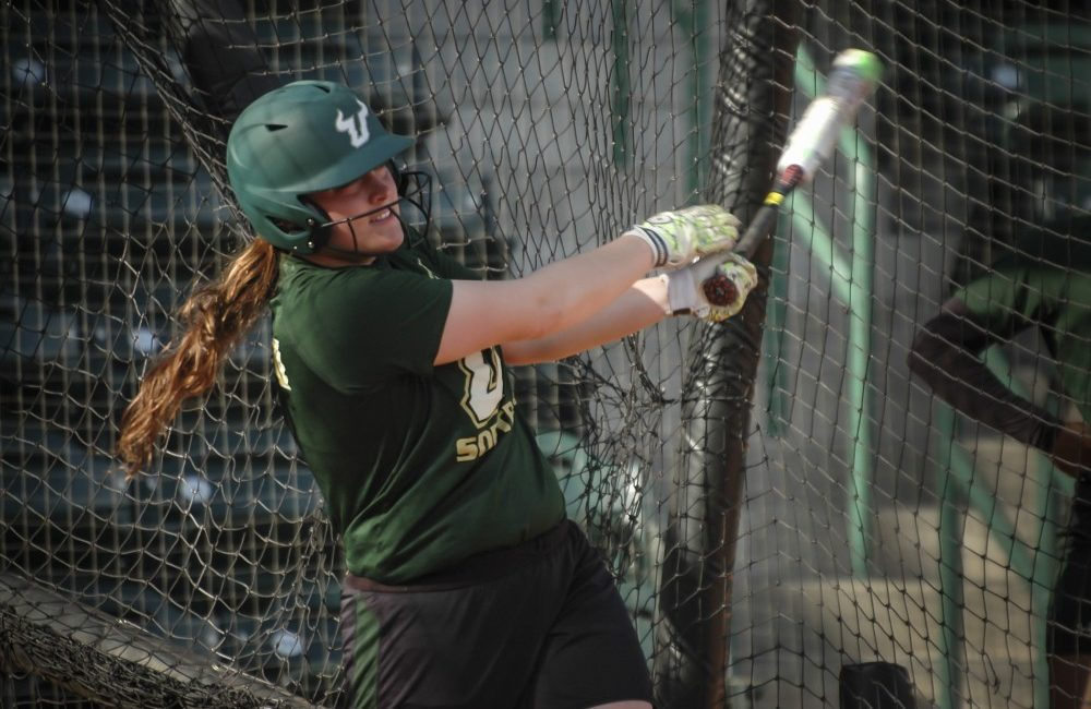 Amber Donovan takes batting practice in Tampa during her final season with the University of South Florida.
