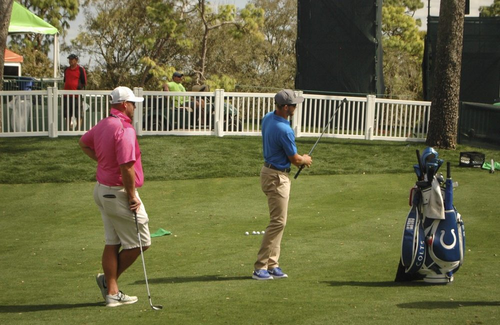 Patrick Rodgers, centre, is having a great first season on the PGA Tour.