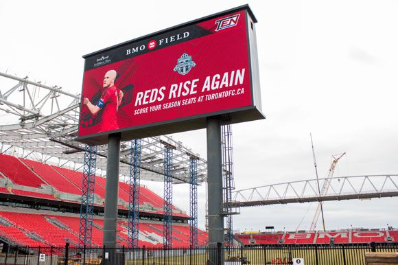 Renovations are going on at BMO Field. On New Year's Day 2017 there will be a hockey rink in the middle of TFC's soccer pitch.