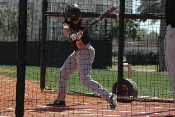 Outfielder Casey Scoggins takes a swing during batting practice at the University of Tampa Baseball Field, Tampa, Fla.