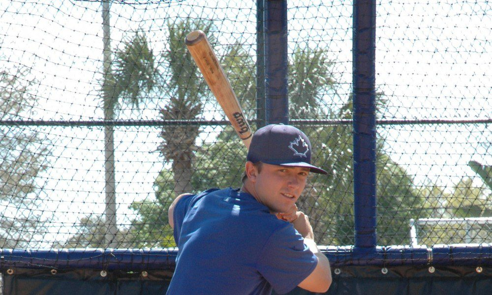 John La Prise in his batting stance. La Prise was named the Blue Jays best pure hitter in the 2015 draft by Baseball America.