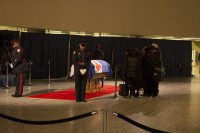 Honour guard surrounds the late Rob Ford as mourners pay their respects.