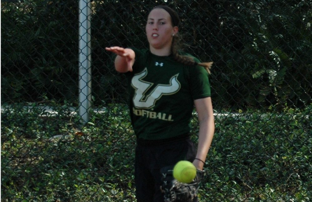 USF Bulls pitcher Rachel Ionata delivers during a bullpen session in Tampa, Fla.