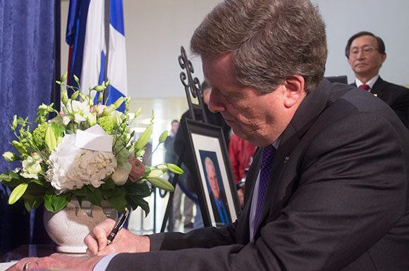 '(Rob Ford) was above all else a profoundly human guy, and he will be missed,' said Mayor John Tory before signing the book of condolence at City Hall. The former mayor and Ward 2 councillor died earlier today after battling cancer.