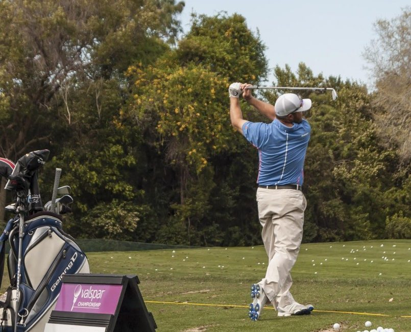 Chad Collins works on his drive during his practice round at the Valspar Championship.