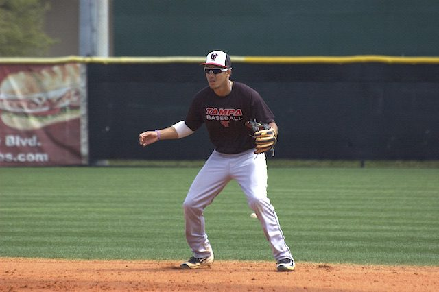 Laz Rivera taking groundballs during practice at the University of Tampa